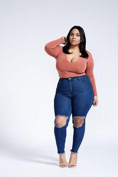 ae63e814e4a Rehab High Waist Ripped Knee Skinny Leg Denim Blue Jean Pant Plus Size  Curvy Plus Size