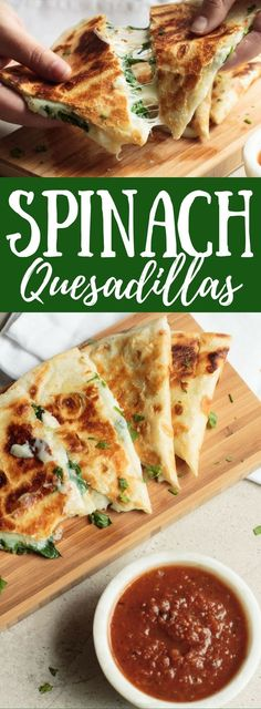 Spinach Quesadillas are super cheesy and bursting with spinach. They make an awesome appetizer or main dish!