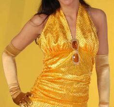 Glittertop goud geel