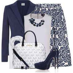 Classic Navy Blue and White by brendariley-1 on Polyvore featuring moda, Armani Jeans, Armani Collezioni, Elizabeth and James, Blink, Michael Kors, bleu, BERRICLE and FTC