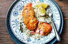 (h)tandoori salmon Tesco Real Food Salmon Recipes, Fish Recipes, Seafood Recipes, Seafood Dishes, Healthy Filling Snacks, Healthy Meals For Kids, Healthy Sides, Easy Indian Recipes, Healthy Dinner Recipes