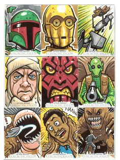 Star Wars sketch cards 1 by ~JasonGoad