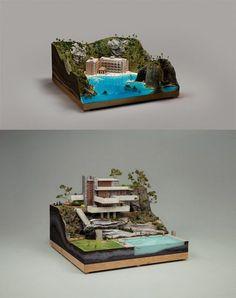 Diorama - the below house is Frank Lloyd Wright Miniature Houses, Miniature Dolls, Crea Design, Modelos 3d, Tiny World, Mini Things, Miniture Things, Stop Motion, Resin Art