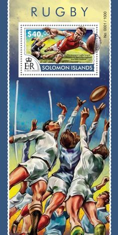 Post stamp Solomon Islands SLM 15314 bRugby (The strongest rugby league nations are Australia, England and New Zealand)