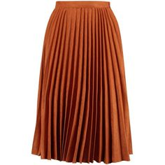 Fiona Faux Suede Pleated Midi Skirt found on Polyvore featuring skirts, pleated midi skirt, brown midi skirt, midi skirt, brown pleated skirt and calf length skirts
