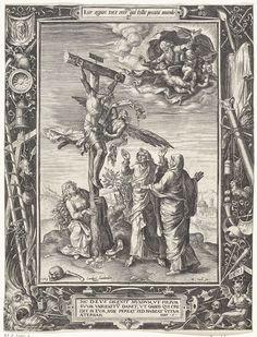 Anonymous | Christus aan het kruis, Anonymous, Hieronymus Cock, 1563 | Christus hangt aan het kruis. Een engel vangt zijn bloed op in een kelk. Rechtsboven God de Vader met enkele engelen. Voor het kruis staan Johannes de Evangelist en Maria. Maria Magdalena houdt het kruis vast. Rond de voorstelling een ornamentrand met de passiewerktuigen. Boven een cartouche met een éénregelige tekst in het Latijn uit Joh. 1. Onder een cartouche met een vierregelige tekst in het Latijn uit Joh. 11.
