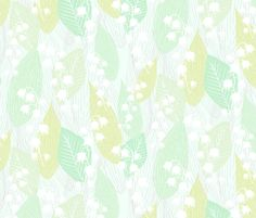 Leafy Lily of the Valley - radianthomestudio - Spoonflower - leaf pattern, floral pattern, floral fabric, leaf fabric design