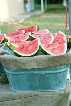 Cold juicy watermelon laid on ice...what could be better on a hot summers day