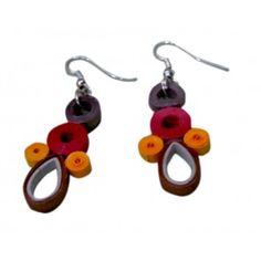 Fancy earrings made of metallic paper- Multi coloured