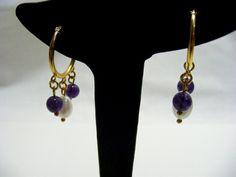 Freshwater Pearl and Amethyst Earrings £10.00