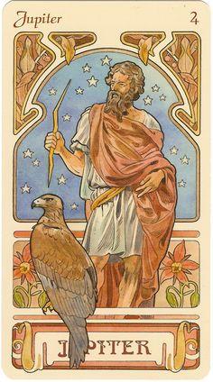 Jupiter-- rules the zodiac sign of Sagittarius. Art Nouveau Zodiac by Antonella Castelli. Art Nouveau Mucha, Alphonse Mucha Art, Tarot Astrologico, Zeus Jupiter, Culture Art, Roman Gods, Roman Mythology, Inspiration Art, Greek Gods
