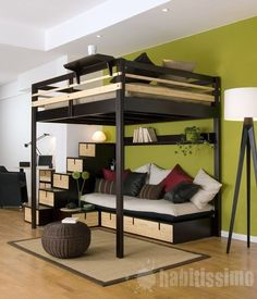 Loft Bed Design for The Modern Adult : Loft Bed Contemporary Bedroom Design For Small Space By Espace Loggia Cool Loft Beds, Modern Bunk Beds, Loft Bed Frame, Diy Bed Loft, Full Bed Loft, Cool Beds For Boys, Pallet Loft Bed, Raised Bed Frame, Pallet Wood