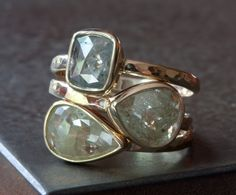 Champagne Yellow Diamond Stacking Ring in 14kt Yellow Gold