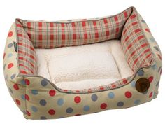 Spring is here and that may mean changing up your pooch's muddy bed from Winter!    These luxurious beds by Petface have a cheerful polka dot and checked design with a cosy faux sheepskin removable cushion.    #spring #easter #dogs #puppy