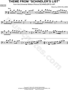 """Theme from Schindler's List"" from 'Schindler's List' Sheet Music (Cello Solo) - Download & Print"