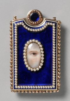 Lovers Eye Jewelry – Memorandum Case with Guilloche Enamel and Pearls, English, … Lovers Eye Jewelry – Memorandum-Etui mit Guilloche-Emaille und Perlen, Englisch, um 1800 Victorian Jewelry, Antique Jewelry, Vintage Jewelry, Eye Jewelry, Sea Glass Jewelry, Jewelry Shop, Jewlery, Jewelry Case, Bling Jewelry