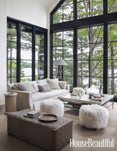 Interior designer Anne Hepfer's modern rustic summer lake house in Muskoka.
