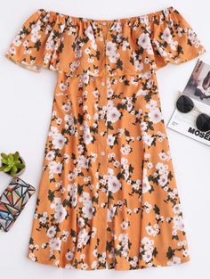 SHARE & Get it FREE | Floral Off The Shoulder A-Line Dress - EarthyFor Fashion Lovers only:80,000+ Items • New Arrivals Daily Join Zaful: Get YOUR $50 NOW!