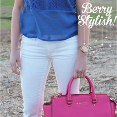 Berry Stylish!Berry Stylish! The Style Lineup - Date outfit, Spring Outfit, Casual Friday Outfit, Royal Blue and Pink, Royal Blue Top, Pink Purse, White Pants Outfit, Michael Kors Purse