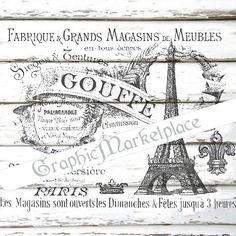 Eiffel Tower Paris Meubles French Logo Instant Download Transfer to Pillows Burlap digital collage sheet graphic printable No. 771