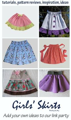 Diy clothing kids & tutorials: skirts for girls link party Girls Skirt Patterns, Sewing Patterns For Kids, Sewing For Kids, Baby Sewing, Sewing Ideas, Diy Clothing, Sewing Clothes, Clothing Patterns, Sewing Coat
