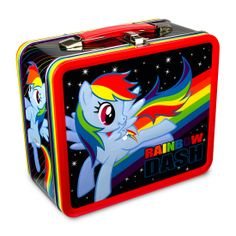 "My Little Pony Rainbow Dash Lunch Box ~ ""Carry the magic of friendship, rainbows and a snack in one of these bright and adorable My Little Pony lunchboxes. The metal lunchboxes have embossed artwork of Rainbow Dash and your other favorite ponies."""