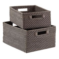Grey Rattan Storage Bins with Handles | The Container Store