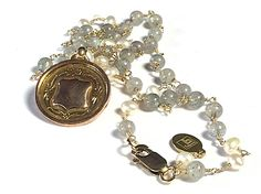 Fribble Pistol antique 9ct gold watch fob necklace with freshwater pearls & labradorite gemstones...