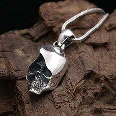 "Men's Sterling Silver Skull Necklace with Sterling Silver Wheat Chain 18""-24"""