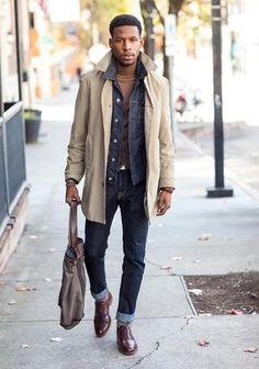 Men's Beige Trenchcoat, Blue Denim Jacket, Brown Turtleneck, Blue Jeans