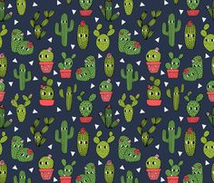 happy cactus // navy blue cacti cactus character cute  fabric by andrea_lauren on Spoonflower - custom fabric