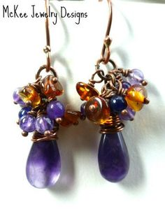 Copper, Baltic amber and amethyst stone dangle earrings.