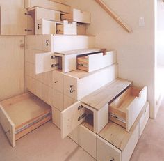 Stairs that are actually drawers. #organize #smallspaces