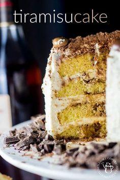 Tiramisu Cake   Catz in the Kitchen   catzinthekitchen.com   #tiramisu #cake #chocolate No Cook Desserts, Great Desserts, Summer Desserts, Dessert Recipes, Italian Desserts, Healthy Cake Recipes, Delicious Cake Recipes, Yummy Cakes, Sweet Recipes