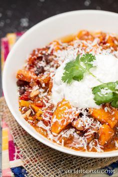 Crockpot Sweet Potato Chicken Chili | Ari's Menu