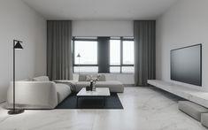 Salon inspirant - Marbre au sol - Sobre et neutre - Luminaire Flos - Divan style pouffe canon - Look minimaliste