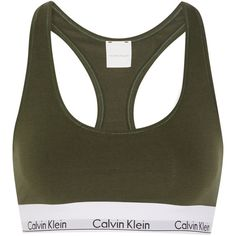 Calvin Klein Underwear Modern Cotton stretch cotton-blend soft-cup bra ($32) ❤ liked on Polyvore featuring intimates, bras, tops, underwear, activewear, army green, padded bra, soft cup bra, calvin klein underwear and padded underwire bra