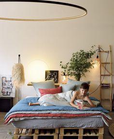 Pure linen cushions and duna from Maison de Vacances and stunning Atelier Le deun lighting at www.bastilleandsons.com.au