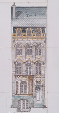 Bruxelles Extension Sud - Avenue Lloyd George 12 - NEIRYNCK Charles Neoclassical Architecture, Arch Architecture, Classic Architecture, Architecture Drawings, Amsterdam Architecture, Modernisme, Art Nouveau, House Drawing, Facade Design