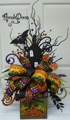 Your place to buy and sell all things handmade Halloween Ribbon, Halloween Magic, Halloween Trees, Halloween Season, Halloween Projects, Halloween Cards, Holidays Halloween, Halloween Diy, Halloween Spells