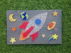 MADE TO ORDER Outer Space Rocketship String Art by MadeByTheNeedle