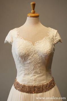 Short Sleeve Wedding Dress Ball Gown Lace and Rose Gold by AvailCo
