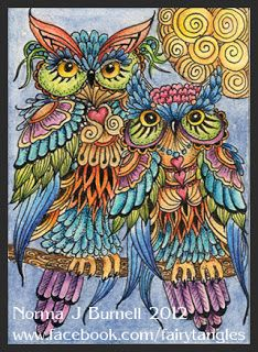 ACEO, 2.5x3.5 inches, Micron pen, Tombow brush pens and star glitter on hot pressed watercolor paper