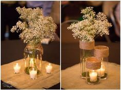 Baby's breath is very inexpensive and is beautiful. Great inexpensive centerpiece idea with a vase and some votive candles. by desiree Inexpensive Centerpieces, Wedding Centerpieces, Wedding Table, Diy Wedding, Rustic Wedding, Wedding Reception, Wedding Flowers, Dream Wedding, Wedding Decorations