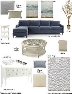 Brentwood, CA Residence Great Room Furnishings Concept Board, Updated. New Living Room, Home And Living, Living Room Decor Blue, Living Room Inspiration, Room Colors, Living Room Designs, Interior Design, Decoration, Home Decor