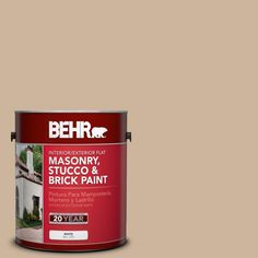 BEHR 1 gal. #PPU4-7 Mushroom Bisque Flat Interior/Exterior Masonry, Stucco and Brick Paint