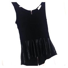 """BLACK TOP WITH """"LEATHER"""" DETAIL Gorgeous top that is so soft and comfortable. The bottom is like a peplum with faux leather. Full zipper in the back, but really for look. Pink Rose Tops Blouses"""
