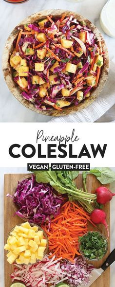 This Pineapple Coleslaw is tangy, heathy, and delicious. It makes a great vegan side dish for any meal! This Pineapple Coleslaw is tangy, heathy, and delicious. It makes a great vegan side dish for any meal! Side Dishes For Chicken, Vegan Side Dishes, Side Dish Recipes, Healthy Cooking, Healthy Eating, Clean Eating, Vegetarian Cooking, Pineapple Coleslaw, Paleo Coleslaw