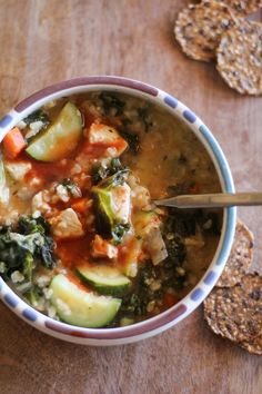 Hearty Chicken Soup with Rice and Kale #healthy #stew #recipe