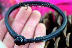 5AB-406 Genuine Kangaroo Leather Magnetic Hematite Unisex ANKLET Bracelet